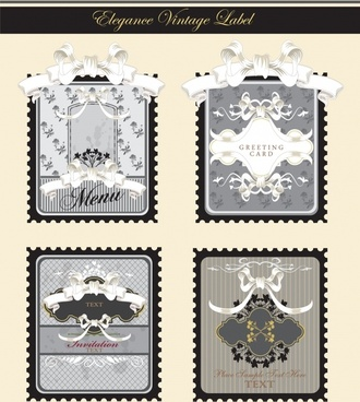 card label templates elegant classic ribbons decor