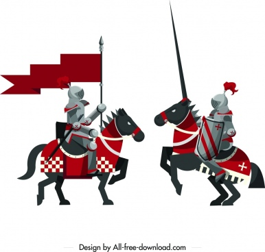 ancient royal knights icon colored classical design