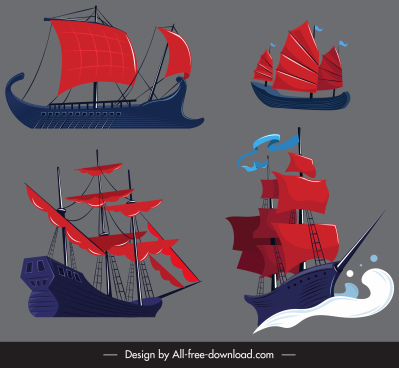 ancient sail boat icon colored 3d sketch