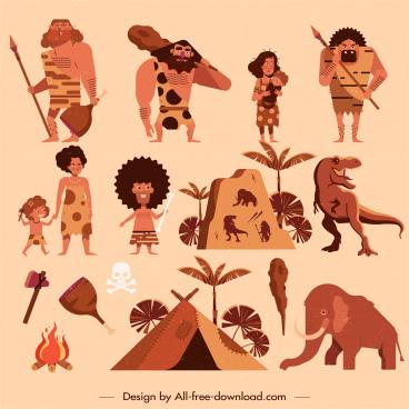 ancient stone age design elements caveman dinosaur sketch