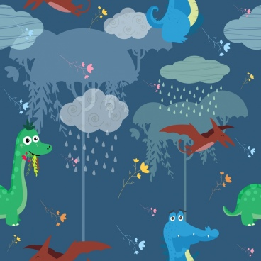 ancient time pattern dinosaur weather icons decoration