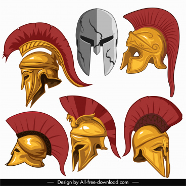 ancient warrior helmet icons colored 3d sketch
