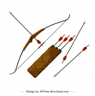 ancient weapon icon arrows bow sketch colored design
