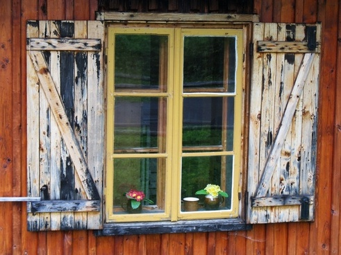 ancient wooden window