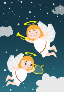 angel background cute girl icons colored cartoon