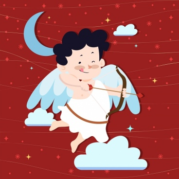 angel background winged boy arrow bow icons