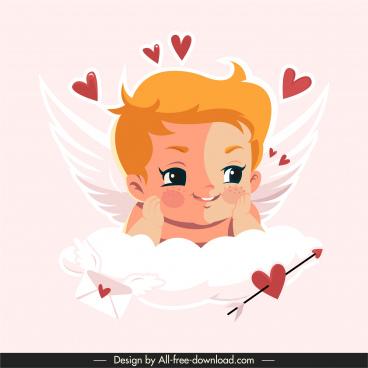 angel cupid icon cute boy sketch hearts decor