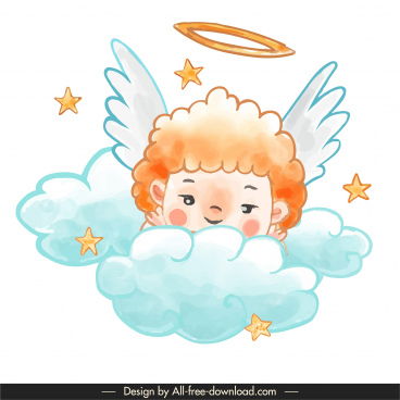 angel icon colorful classic handdrawn sketch
