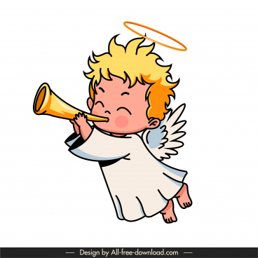 angel icon cute blowing horn boy sketch