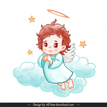 angel icon cute cartoon character classic handdrawn
