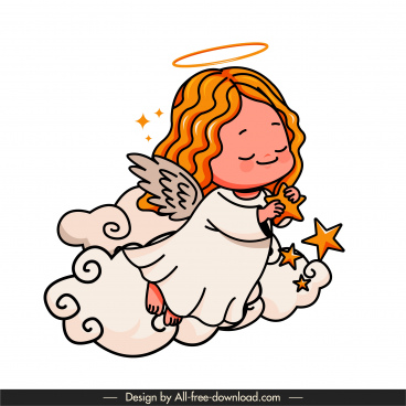 angel icon cute girl sketch handdrawn cartoon character