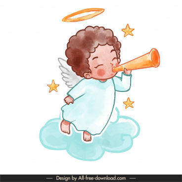 angel icon horn blowing sketch cute cartoon character