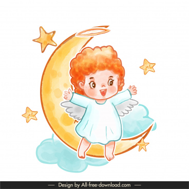 angel icon moon stars cloud sketch cute cartoon character