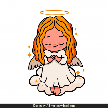angel icon praying gesture cute handdrawn cartoon sketch