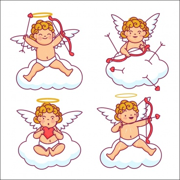 angel icons collection cute kid colored cartoon design