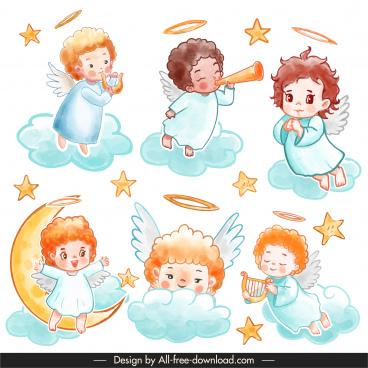 angel icons cute cartoon sketch handdrawn classic