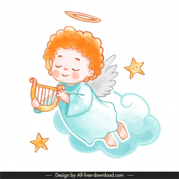 angel icons cute winged boy sketch cartoon character
