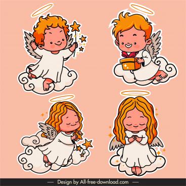 angel icons handdrawn sketch cute cartoon character