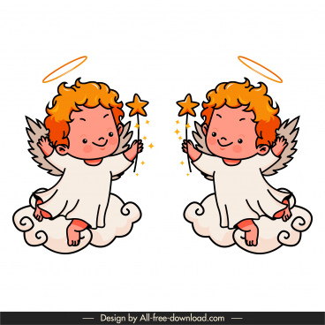 angel icons mockup sketch cute handdrawn cartoon characters