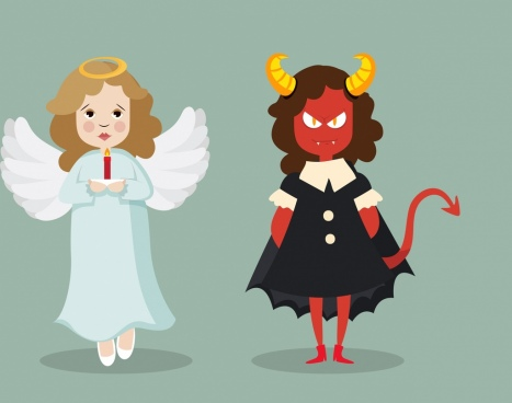 angle devil icons colored cartoon design