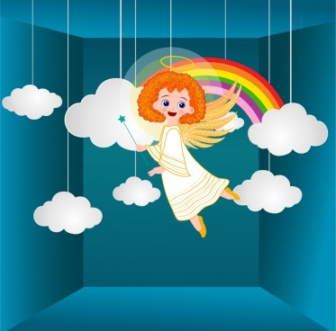 angle drawing clouds rainbows decor 3d design