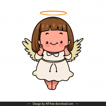angle icon cute little winged girl sketch cartoon character