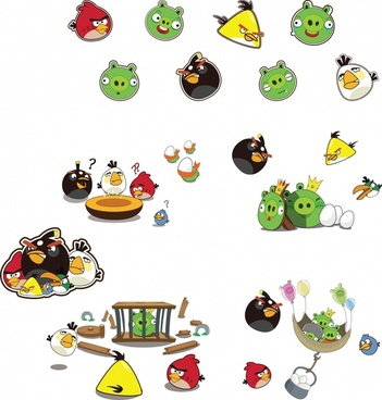 angry birds icons cute colorful cartoon characters