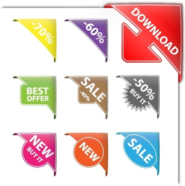 sales badge templates shiny colored modern corner design
