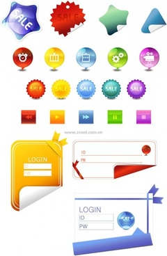 angular stickers button icons login and other vector