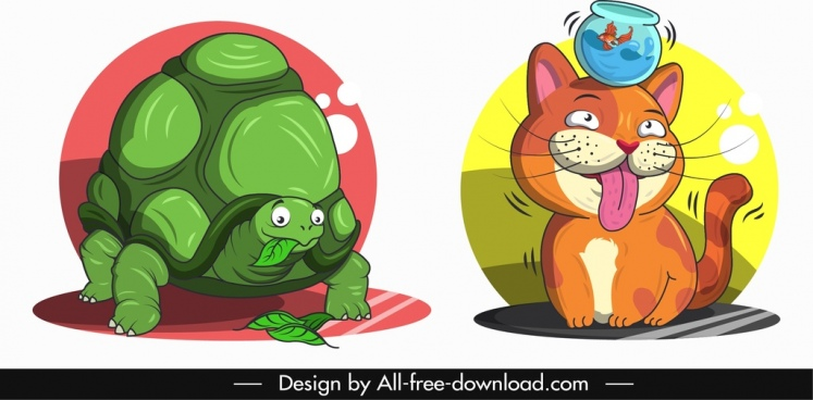 animal avatar templates turtle cat icons cartoon design