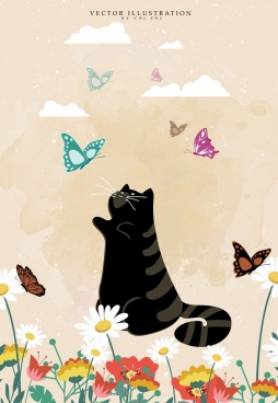 animal background black cat butterflies icons decor