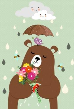 animal background brown bear bird stylized cloud icons