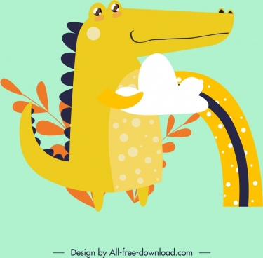 animal background crocodile icon colored classical design