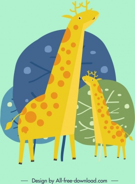 animal background giraffe icon colored classical design