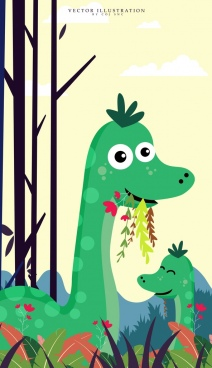 animal background green dinosaur icons cute cartoon