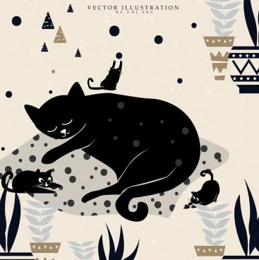 animal background joyful cats icon dark design