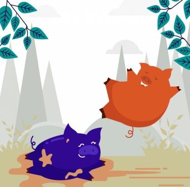 animal background joyful pigs icon colored cartoon design