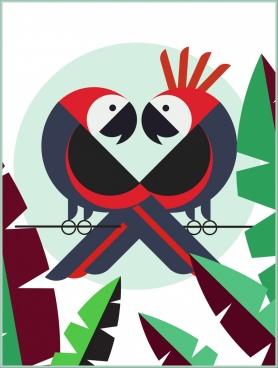 animal background parrot couple leaf icons flat design