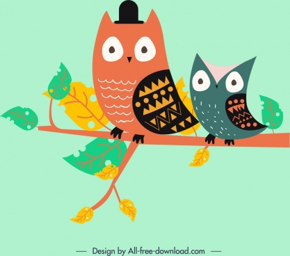 animal background stylized owl icons colored cartoon design