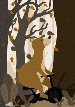 animal background stylized riding bear icon cartoon design