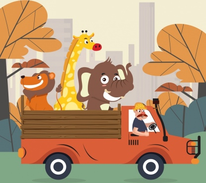 animal background truck lion giraffe elephant icons