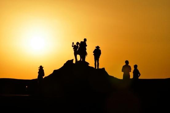 animal backlight backlit camel climber cross evening