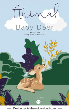 animal book cover template cute baby deer sketch