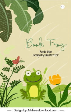 animal book cover template frog sketch cartoon design