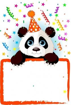 event background panda frame ribbon ornament