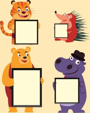 animal borders templates tiger bear hippopotamus porcupine icons