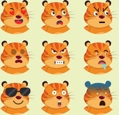 animal emoticon collection tiger head icons cartoon characters