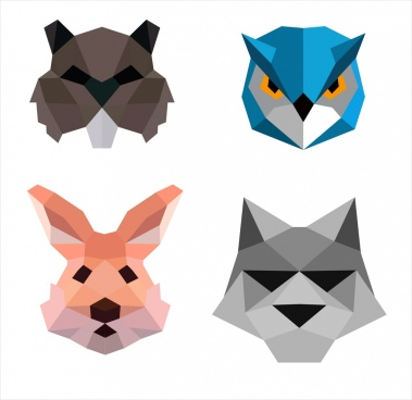 Animal Face Icons Isolation Colored Polygon Decor