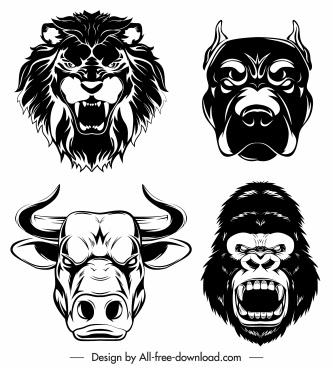 animal head icons black silhouette sketch