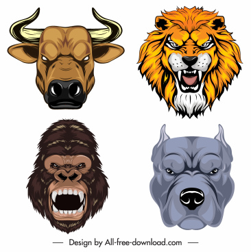 animal head icons buffalo lion gorilla bulldog sketch